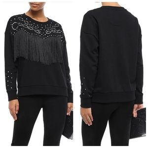 DKNY Fringe-trimmed studded french sweatshirt